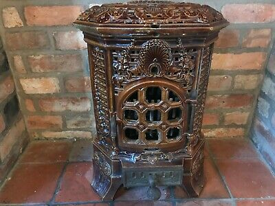 Antique French Deville free standing Classic Enamel cast iron Log Burning Stove
