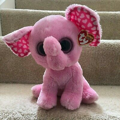 Ty Beanie boos Valentines Day Pink Elephant Sugar New
