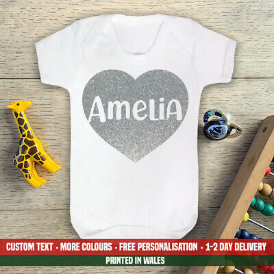 Silver Glitter Heart Name Baby Vest Cute Girls New Announcement Mum Dad Gift