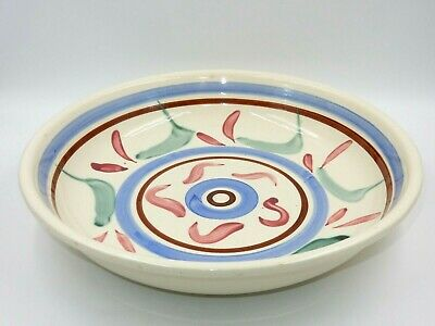 "Large Hand Painted Heavy 14-5/8"" Ceramic Serving Bowl"