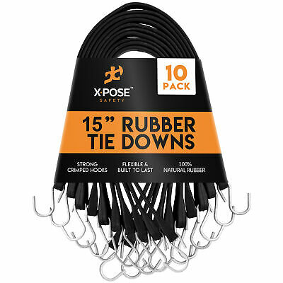 """Rubber Bungee Cords with Hooks 10 Pack 15 Inch (27"""" Max Stretch)"""