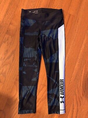 Blue Girls *Under Armour* Crop Designer Leggings! Athletic, Size XS