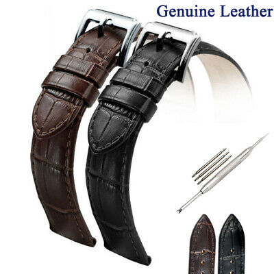 Mens Genuine Leather Watch Straps Band Black Brown 16mm 18mm 19mm 20mm 22mm 24mm