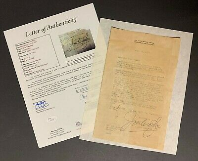 1952 Joan Crawford Typed Signed Autographed Letter Actress Famous Film Star JSA