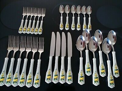 Rare VILLEROY & BOCH 18/10 Stainless Flatware JAMAICA 28 Pc Set Flowers & Fruit