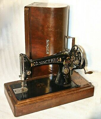 1911 Rare Lotus Decorated Antique Original Singer 66 Crank Sewing Machine Work