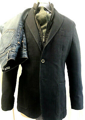 MASSIMO DUTTI Mens Sport Jacket BLUE CHECK Side Vents 3 BUTTONS Half Lined