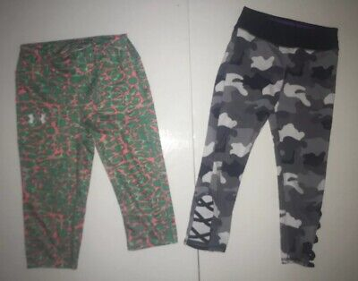 Under Armour Justice Capri Cropped Fitted Athletic Leggings Sz S Lot of 2 Print