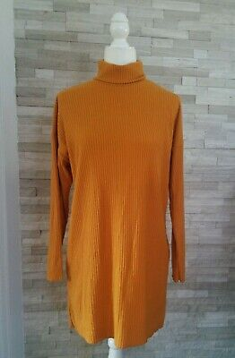 FOREVER 21 Sweater Dress Turtle Neck Long Sleeve Ribbed Mustard Yellow NWT Small