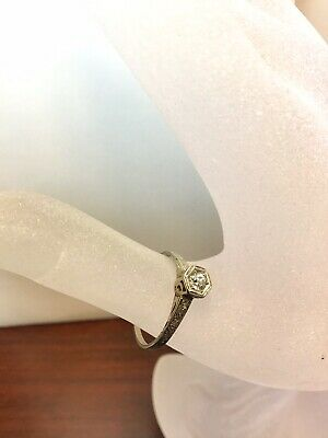 Antique 14K White Gold .20 Ct Natural Diamond Ring Engagement Wedding Art Deco