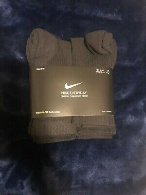 Nike Everyday Plus 6-Pair Pack Crew Cotton Cushioned Dri-Fit Socks 8-12 Black