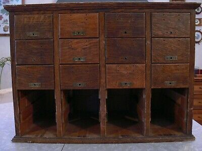 Antique 20 Drawer Oak Library Bureau Sole Makers File Box Cabinet Incomplete