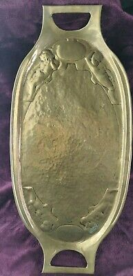 Glasgow Style Art Nouveau Brass Cherub Repousse Worked Twin Handled Tray c 1900