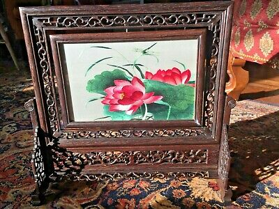 Chinese 100% hand embroidered Suzhou double sided embroidery: Flowers w/ case