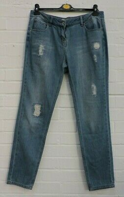 Ladies Next Blue Denim Relaxed Skinny Distressed Jeans Size UK 14 #R13-CE