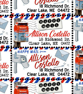 Happy Mail - Custom Return Address Stamps - Sheet of 40 - Gummed & Perforated