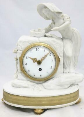 Very Nice Antique French 8 Day Striking White Bisque Porcelain Mantle Clock