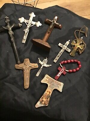 Religeous Crucifixs X 9 Wood, Metal, Glass
