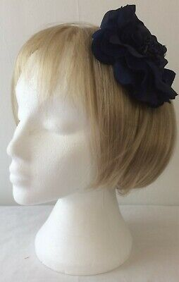 *SALE*  Navy Blue Fabric and Bead Flower Fascinator Alligator Clip - Pin BNWOT