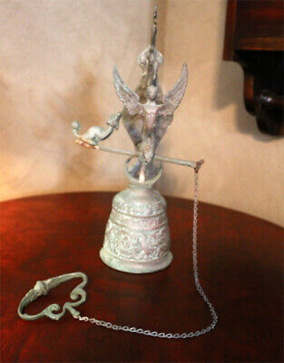 Vintage Monastery Ornate Brass Bell with Pull Chain Door Angel Serpent