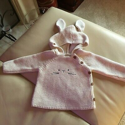 Baby  - Next - Cream Knitted hooded jumper - Age 9-12 Months