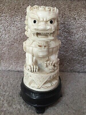 VTG Chinese Foo Dog Carving From Italy GREAT DETAIL Sculpture Figure Statue Lion