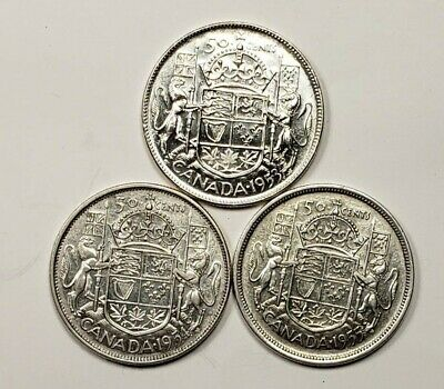 1953 1954 1955 Canada Silver 50 Fifty Cents 3 Different Coins Lot