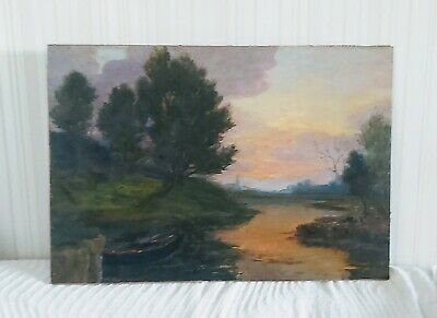 Large Antique French Impressionist Oil On Canvas Painting In Gold Gilt Frame