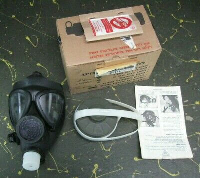NOS 1970s vintage German? military gas mask w/ filter FE55, NIB w/ directions