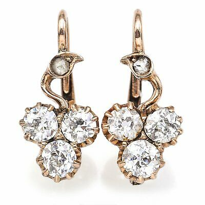 Antique 19th Century 14K Gold 1.20 TCW Old Euro Diamond Lever-Back Earrings 3.1G