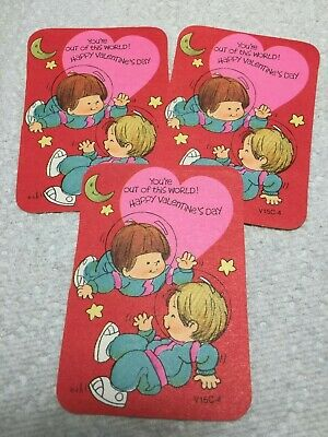 Vtg Lot Valentine's Day Card 60's Little Boy Astronauts in Space Suits