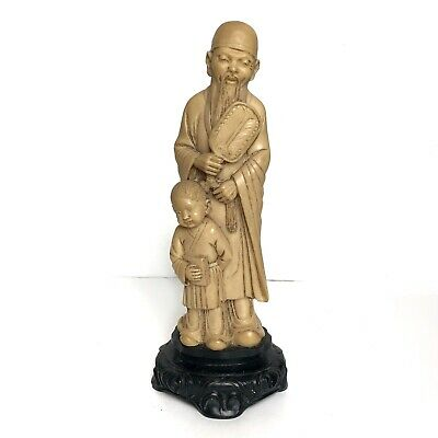 """Vintage Chinese Old Man With Child Bovine Handcarved Figurine 8.5""""x3"""""""
