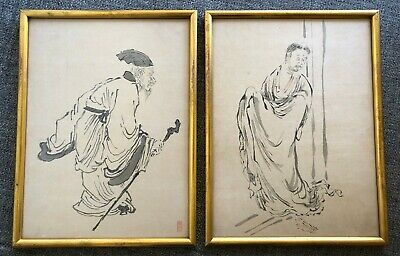 Two(2) Antique Classical Japanese/ Chinese Ink Brush Painting With Artist Seal ?