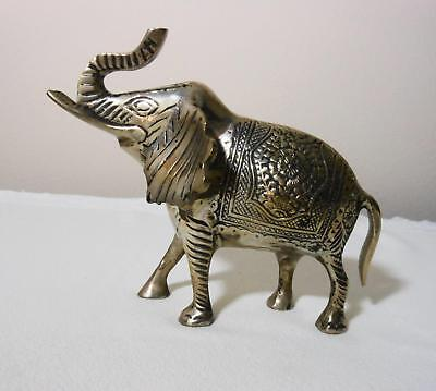 "Vintage Brass Elephant Figurine Intricate Etching 5.5"" tall 6.5"" long Decorative"