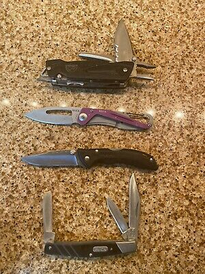 Lot Of 4 TSA Confiscated Buck   Pocket Knives. Great Collection Pieces