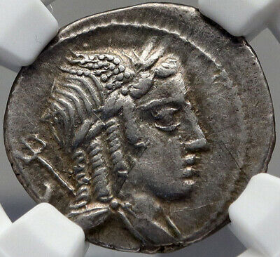 Roman Republic Apollo Vejovis 85BC Rome Authentic Ancient Silver Coin NGC i82691