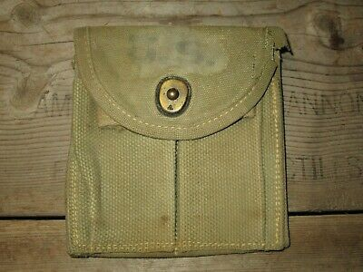 1-18-5 Authentic WWII WW2 M1 Carbine Butt Stock Pouch Khaki OD3 Issued ID'ed