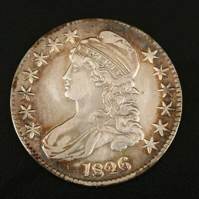 1826 Capped Bust Silver Half Dollar -- Terrific Detail & Toning!