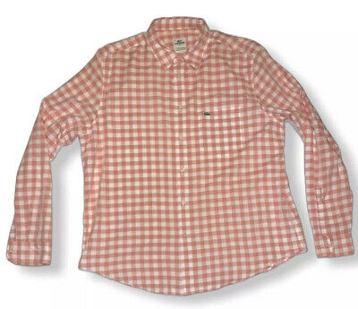 Lacoste Size 44 Pink White Plaid Gingham Long Sleeve Button Size XL Classic Fit