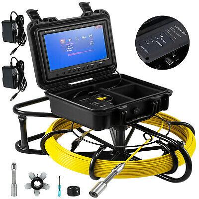 "200ft Pipe Inspection Camera HD 1200 TVL Drain Sewer Camera 9"" LCD Monitor"