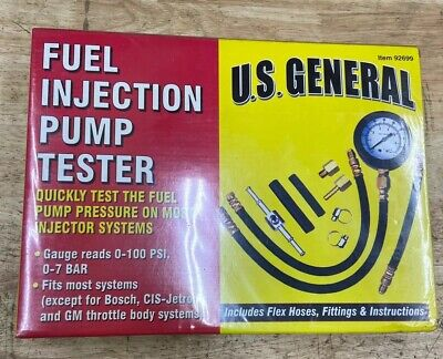 New US General Fuel Injection Pump Tester w/ Flex Hoses, Fittings & Instructions