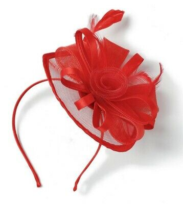Stunning Red Fascinator/Headband Feathers Net Flower Wedding/Races
