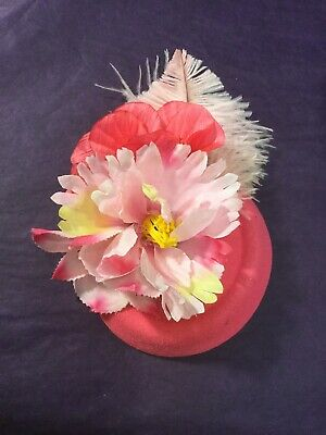 Handmade New Vintage Style Fascinator Pink Flowers And Feathers