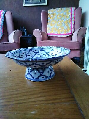 Antique Chinese Cobalt Blue & White Stem Cup Bowl