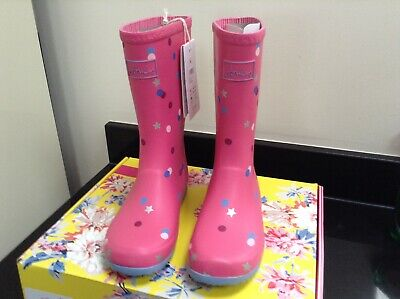 Joules Pink Star Confetti Roll Up Wellies. Boots. Size 2. New In Own Box