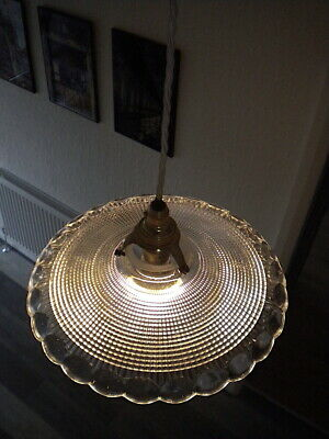 Refractive Glass PENDANT LIGHT   Early Mid Century, French, Antique, Vintage