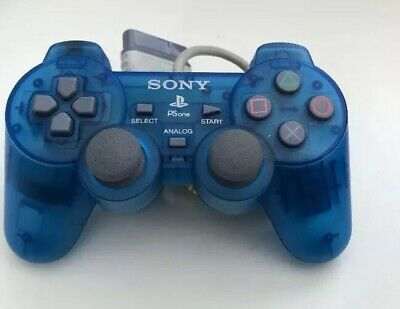 Official Sony PlayStation PS1 SCPH-110 Dualshock Controller - Transparent Blue