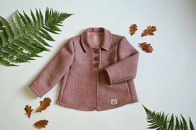 Harris Tweed Children's Pink Check Handmade Coat - Age 3 years girls pea style