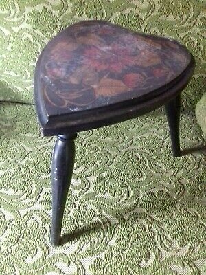 Antique Poker Work Heart shape  Stool, 3 legged, vintage, art nouveau pattern
