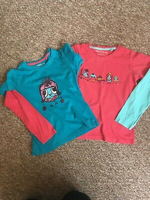 2 mountain warehouse long sleeve birds blue and red girls top aged 7-8